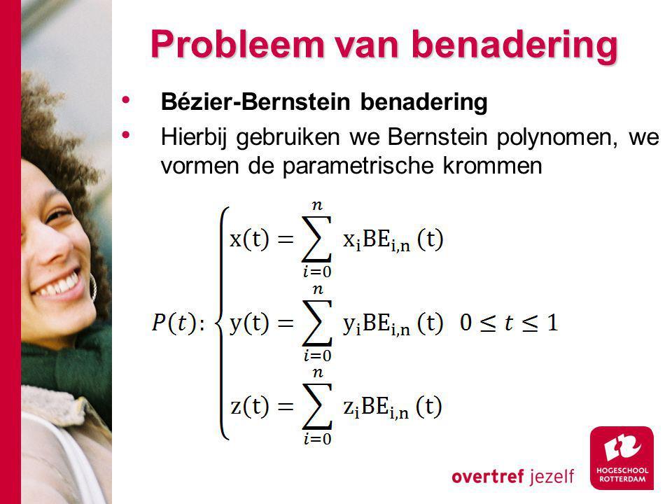 Probleem van benadering Bézier-Bernstein benadering Hierbij gebruiken we Bernstein polynomen, we vormen de parametrische krommen