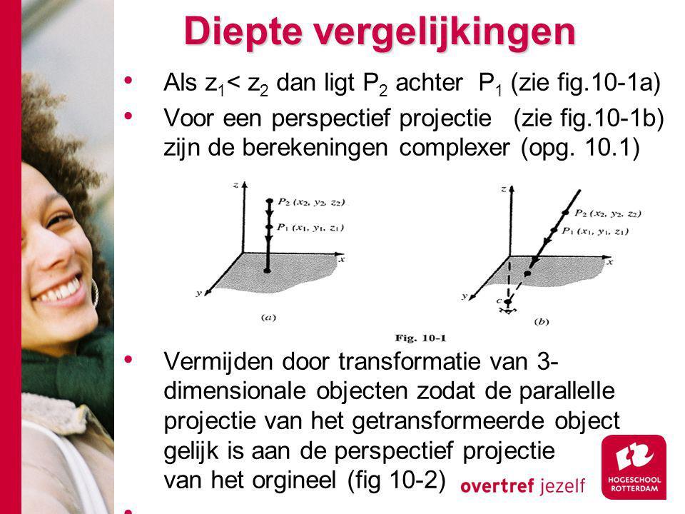 Diepte vergelijkingen Als z 1 < z 2 dan ligt P 2 achter P 1 (zie fig.10-1a) Voor een perspectief projectie (zie fig.10-1b) zijn de berekeningen complexer (opg.