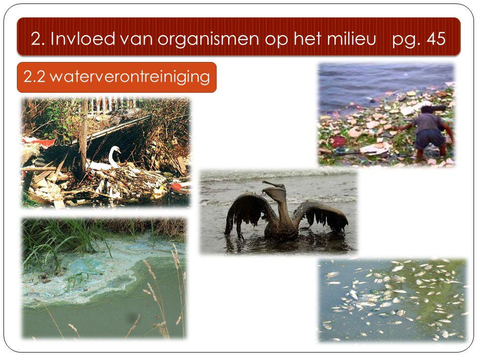 2.2 waterverontreiniging 2. Invloed van organismen op het milieu pg. 45