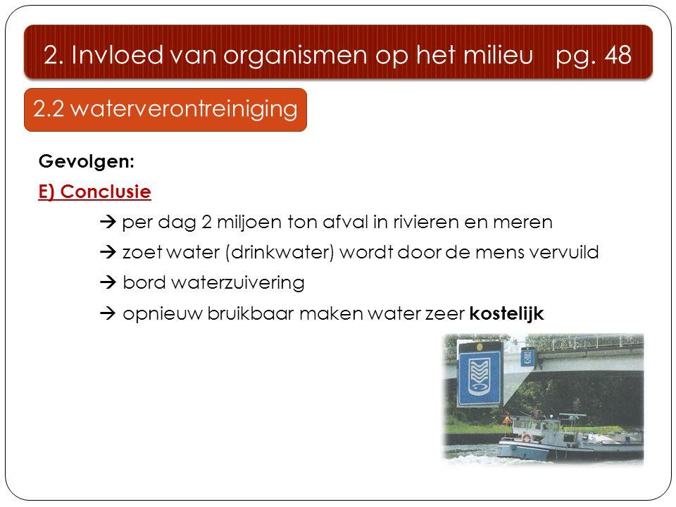 2.2 waterverontreiniging Gevolgen: E) Conclusie  per dag 2 miljoen ton afval in rivieren en meren  zoet water (drinkwater) wordt door de mens vervuild  bord waterzuivering  opnieuw bruikbaar maken water zeer kostelijk 2.