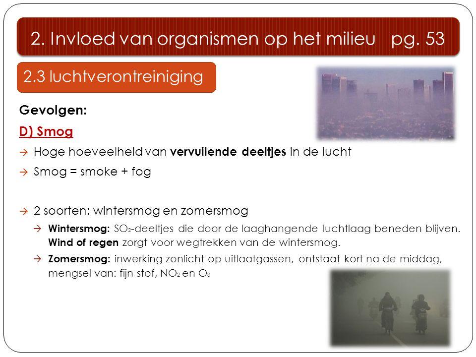2.3 luchtverontreiniging Gevolgen: D) Smog  Hoge hoeveelheid van vervuilende deeltjes in de lucht  Smog = smoke + fog  2 soorten: wintersmog en zomersmog  Wintersmog: SO 2 -deeltjes die door de laaghangende luchtlaag beneden blijven.
