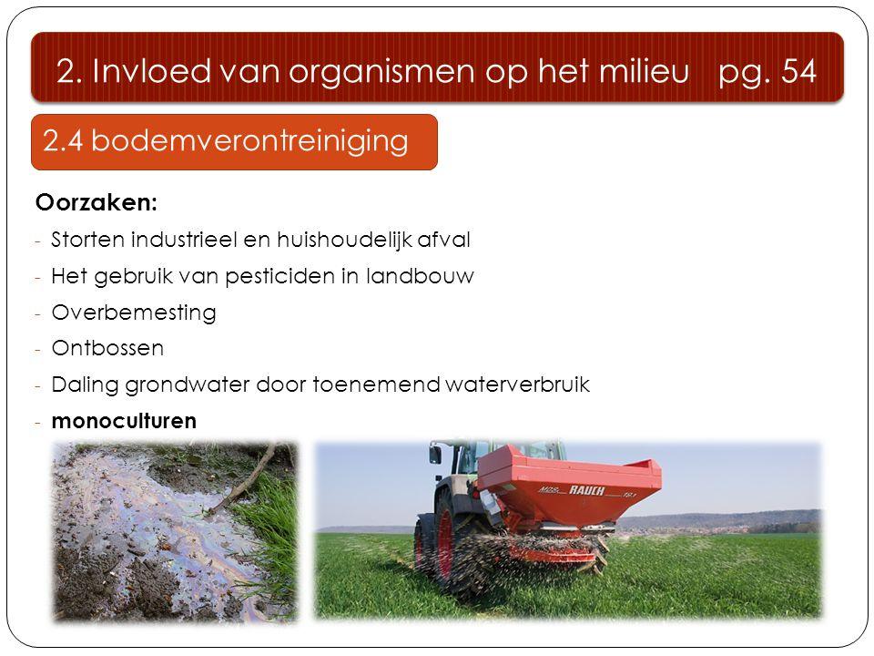 2.4 bodemverontreiniging Oorzaken: - Storten industrieel en huishoudelijk afval - Het gebruik van pesticiden in landbouw - Overbemesting - Ontbossen - Daling grondwater door toenemend waterverbruik - monoculturen 2.