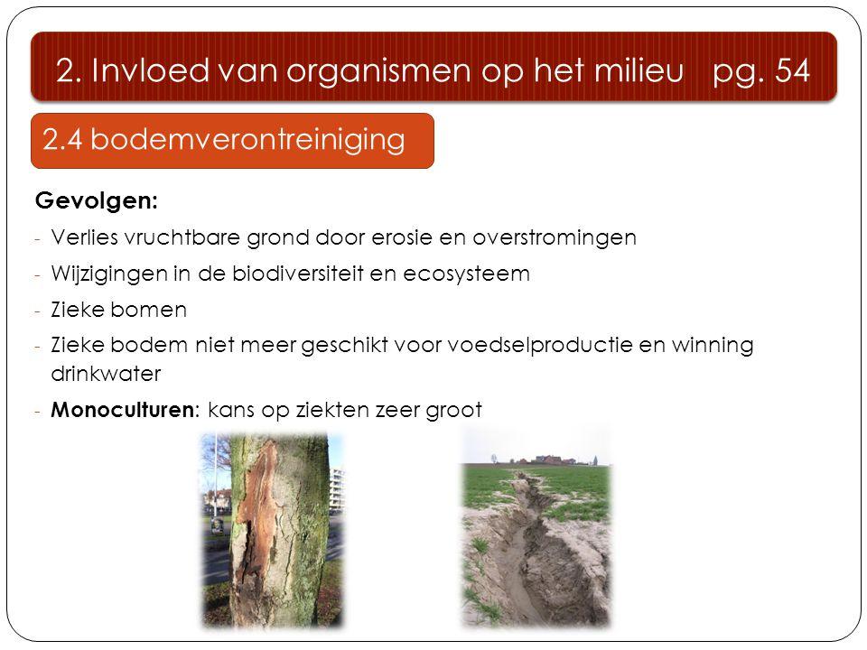 2.4 bodemverontreiniging Gevolgen: - Verlies vruchtbare grond door erosie en overstromingen - Wijzigingen in de biodiversiteit en ecosysteem - Zieke b