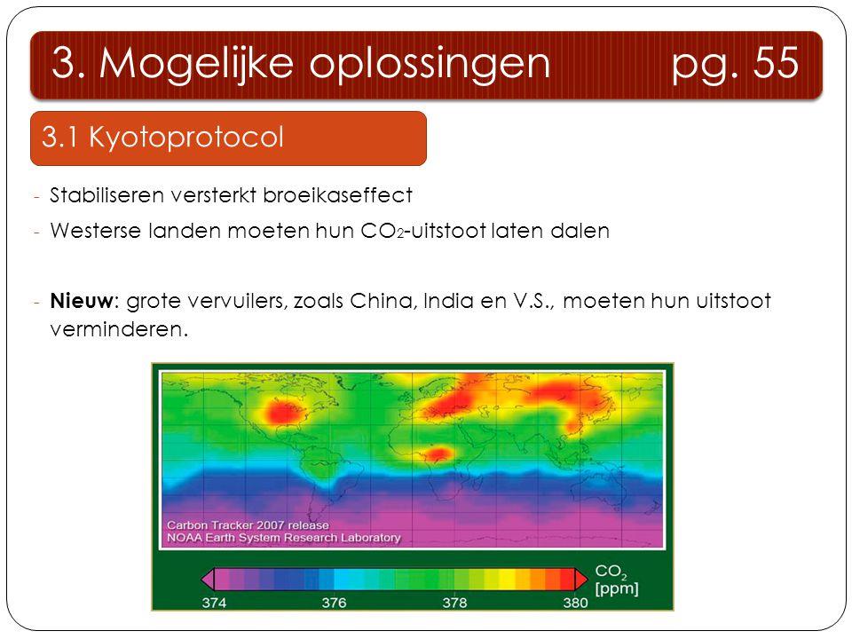 3.1 Kyotoprotocol - Stabiliseren versterkt broeikaseffect - Westerse landen moeten hun CO 2 -uitstoot laten dalen - Nieuw : grote vervuilers, zoals Ch