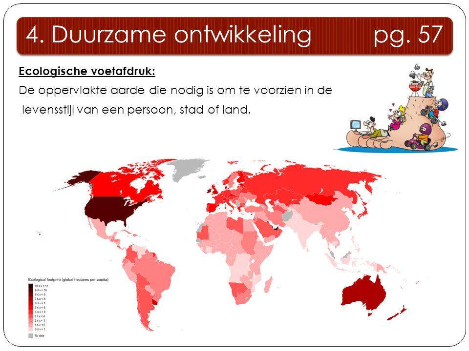 Ecologische voetafdruk: De oppervlakte aarde die nodig is om te voorzien in de levensstijl van een persoon, stad of land. 4. Duurzame ontwikkeling pg.