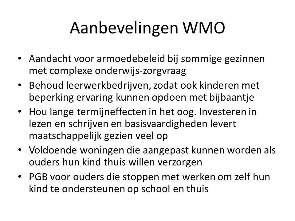 Aanbevelingen WMO Aandacht voor armoedebeleid bij sommige gezinnen met complexe onderwijs-zorgvraag Behoud leerwerkbedrijven, zodat ook kinderen met beperking ervaring kunnen opdoen met bijbaantje Hou lange termijneffecten in het oog.