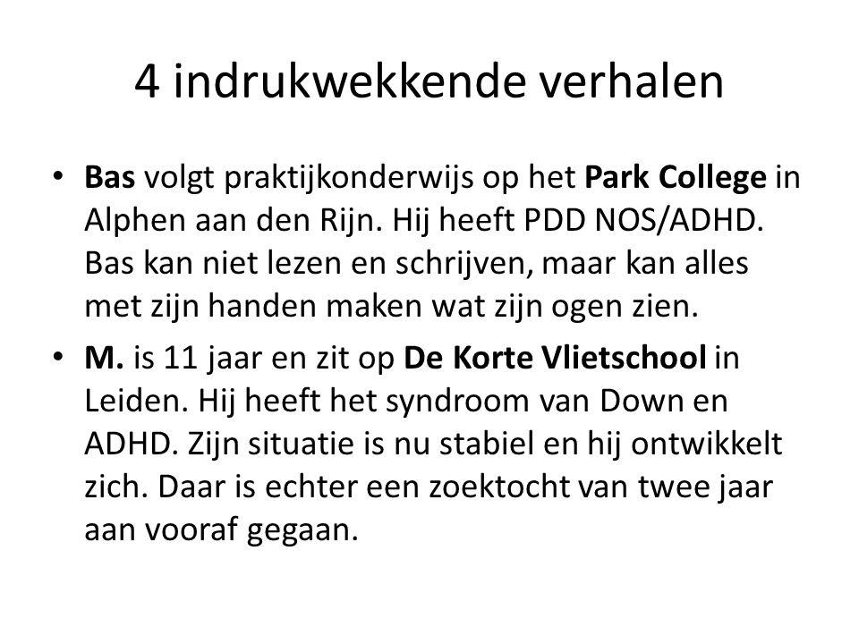 4 indrukwekkende verhalen Bas volgt praktijkonderwijs op het Park College in Alphen aan den Rijn. Hij heeft PDD NOS/ADHD. Bas kan niet lezen en schrij