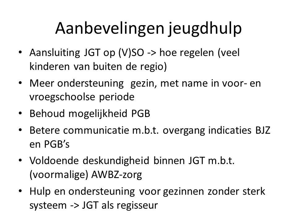 Aanbevelingen jeugdhulp Aansluiting JGT op (V)SO -> hoe regelen (veel kinderen van buiten de regio) Meer ondersteuning gezin, met name in voor- en vroegschoolse periode Behoud mogelijkheid PGB Betere communicatie m.b.t.