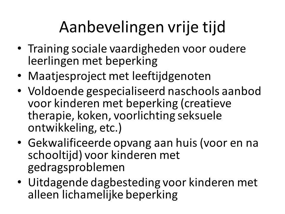 Aanbevelingen vrije tijd Training sociale vaardigheden voor oudere leerlingen met beperking Maatjesproject met leeftijdgenoten Voldoende gespecialisee