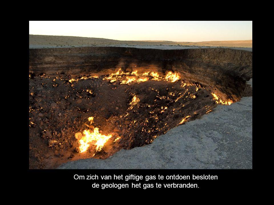 Om zich van het giftige gas te ontdoen besloten de geologen het gas te verbranden.