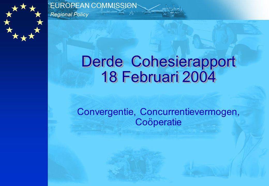 Regionaal Beleid EUROPESE COMMISSIE Derde Cohesie rapport Derde Cohesie rapport 18/02/2004 NL 22 Onderwijsniveau 2002 LOWMEDIUMHIGH % van bevolking tussen 25-64 jaar < 19.2 19.2 – 28.0 28.0 – 36.8 36.8 – 45.6 >= 45.6 no data EU-27 = 32.4 Standard deviation = 17.7 < 35.05 35.05 – 43.35 43.35 – 51.65 51.65 – 59.95 >= 59.95 no data EU-27 = 47.5 Standard deviation = 16.59 < 13.65 13.65 – 17.95 17.95 – 22.25 22.25 – 26.55 >= 26.55 no data EU-27 = 20.01 Standard deviation = 8.57 Source: Eurostat (LFS)