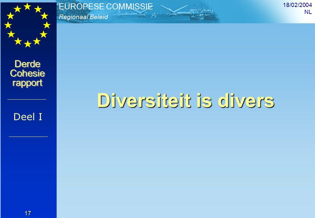 Regionaal Beleid EUROPESE COMMISSIE Derde Cohesie rapport Derde Cohesie rapport 18/02/2004 NL 17 Diversiteit is divers Deel I