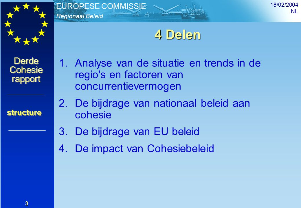Regionaal Beleid EUROPESE COMMISSIE Derde Cohesie rapport Derde Cohesie rapport 18/02/2004 NL 24 De bijdrage van nationaal beleid Nationale budgetten geven voorrang aan basisdiensten en inkomensoverdracht De Structuurfondsen leggen zich toe op de factoren van regionale convergentie en steunen fysieke en menselijke investeringen Het Cohesiebudget is 0.43% van het BBP Deel II Een verschillende benadering tot groeibevordering