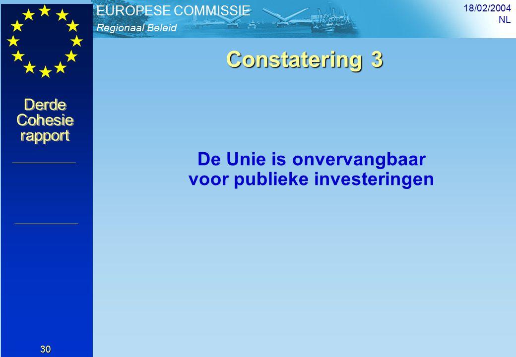 Regionaal Beleid EUROPESE COMMISSIE Derde Cohesie rapport Derde Cohesie rapport 18/02/2004 NL 30 Constatering 3 De Unie is onvervangbaar voor publieke investeringen