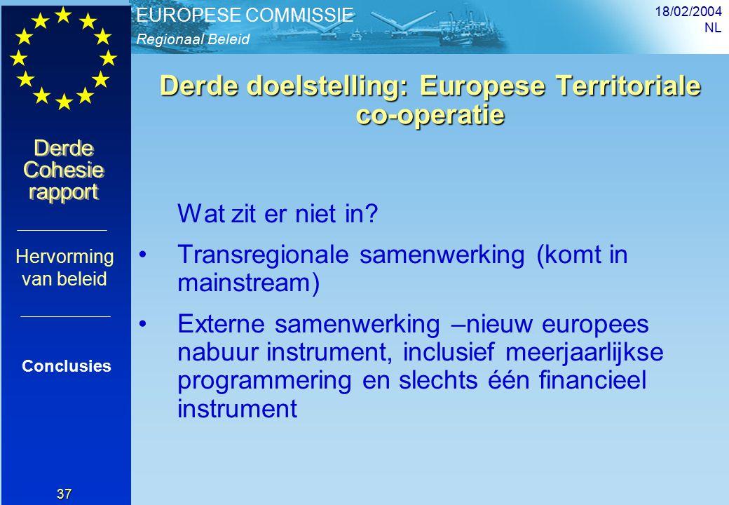 Regionaal Beleid EUROPESE COMMISSIE Derde Cohesie rapport Derde Cohesie rapport 18/02/2004 NL 37 Derde doelstelling: Europese Territoriale co-operatie Wat zit er niet in.