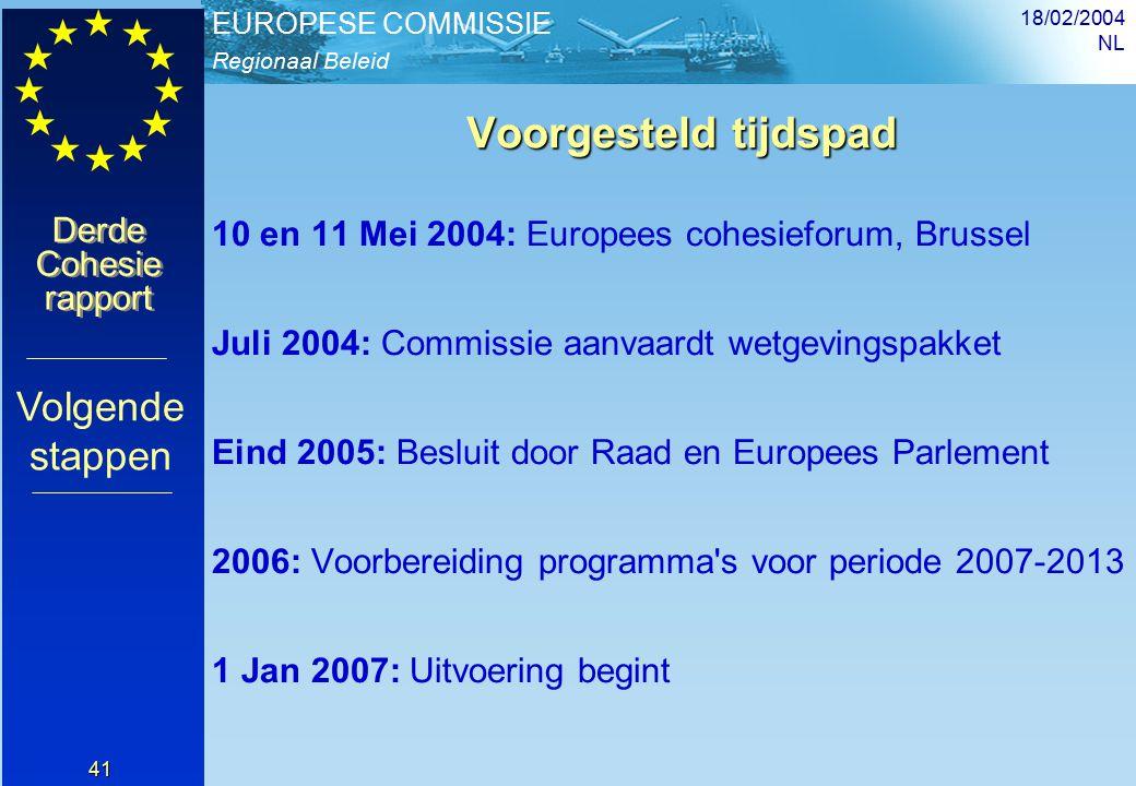 Regionaal Beleid EUROPESE COMMISSIE Derde Cohesie rapport Derde Cohesie rapport 18/02/2004 NL 41 Voorgesteld tijdspad Voorgesteld tijdspad 10 en 11 Mei 2004: Europees cohesieforum, Brussel Juli 2004: Commissie aanvaardt wetgevingspakket Eind 2005: Besluit door Raad en Europees Parlement 2006: Voorbereiding programma s voor periode 2007-2013 1 Jan 2007: Uitvoering begint Volgende stappen