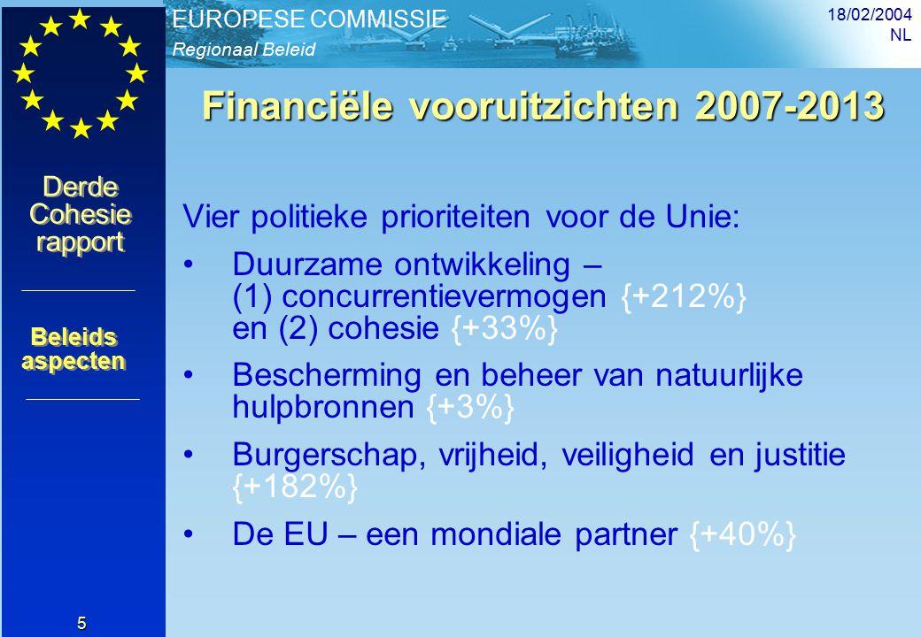 Regionaal Beleid EUROPESE COMMISSIE Derde Cohesie rapport Derde Cohesie rapport 18/02/2004 NL 26 De impact van Cohesiebeleid Meer publieke en private investeringen in regio s (en dus groei) Bijdrage aan toename van BBP (convergentie) Creëren van werk en betere benutting van menselijk kapitaal Meer fysiek en menselijk kapitaal Betere regionale en lokale governance Financiële stabiliteit gedurende 7 jaar Deel IV Mobilisering van middelen voor groeibevordering