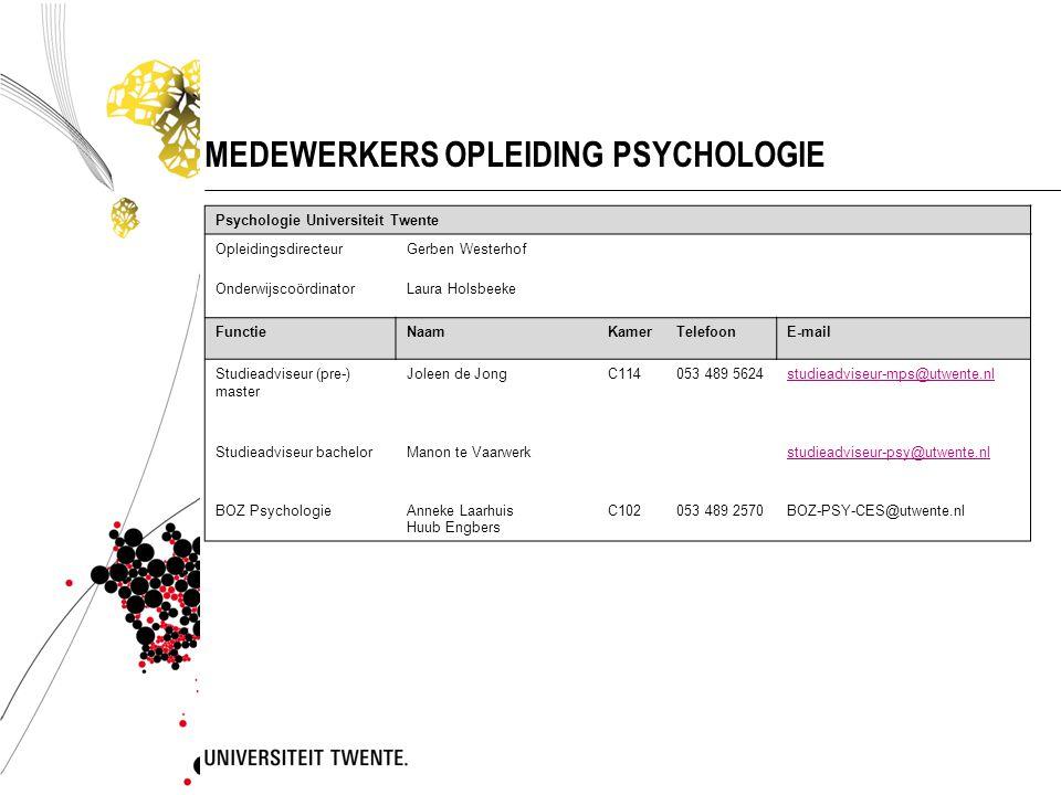 INFORMATIEVOORZIENING VANUIT DE OPLEIDING  E-mail (studentenmail!) @student.utwente.nl  Website Psychologie www.utwente.nl/psywww.utwente.nl/psy  Onderwijsmededelingen: blackboard en studentportal (MyUtwente)  Onderwijs en Examen Regelingen http://www.utwente.nl/bms/onderwijs/regelgeving/ http://www.utwente.nl/bms/onderwijs/regelgeving/ Deze presentatie op www.utwente.nl/psy --> nieuwswww.utwente.nl/psy