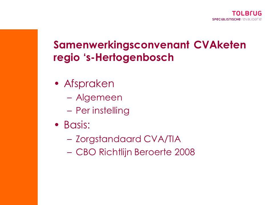 Samenwerkingsconvenant CVAketen regio 's-Hertogenbosch Afspraken –Algemeen –Per instelling Basis: –Zorgstandaard CVA/TIA –CBO Richtlijn Beroerte 2008