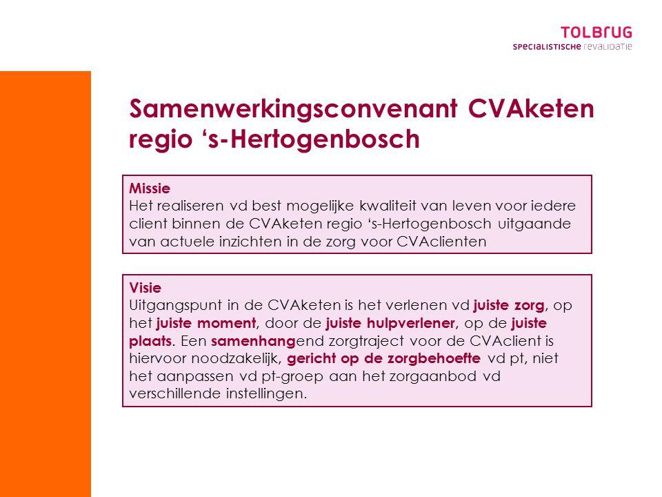 Samenwerkingsconvenant CVAketen regio 's-Hertogenbosch Visie Uitgangspunt in de CVAketen is het verlenen vd juiste zorg, op het juiste moment, door de juiste hulpverlener, op de juiste plaats.