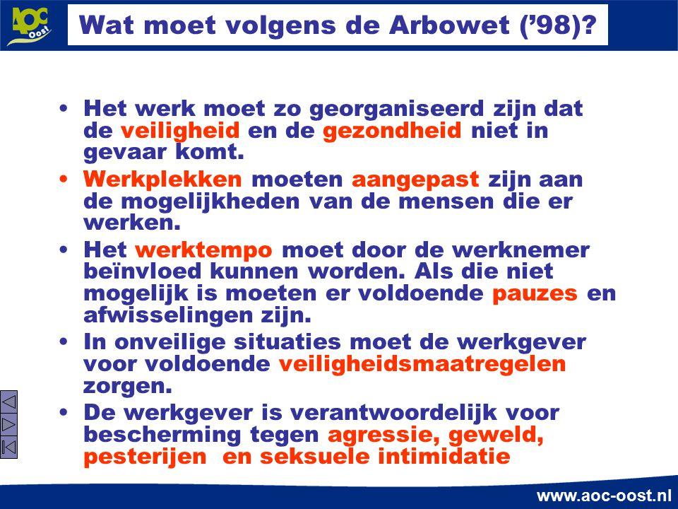www.aoc-oost.nl Wat moet volgens de Arbowet ('98)? Het werk moet zo georganiseerd zijn dat de veiligheid en de gezondheid niet in gevaar komt. Werkple