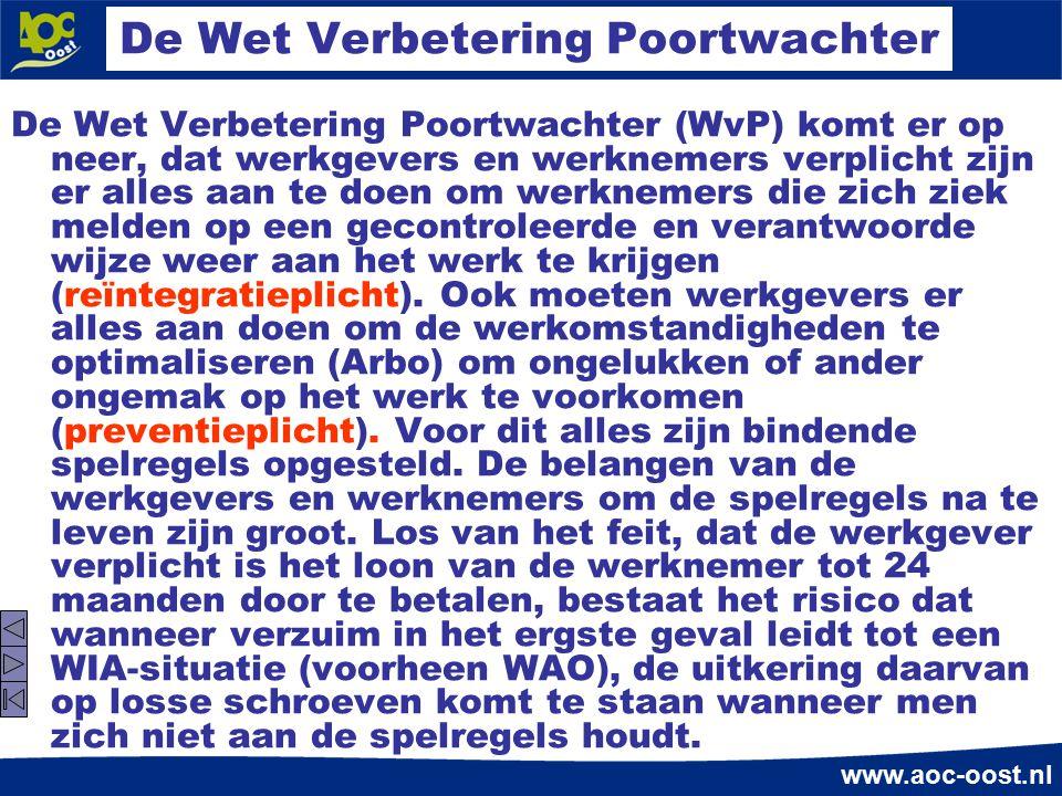 www.aoc-oost.nl De Wet Verbetering Poortwachter De Wet Verbetering Poortwachter (WvP) komt er op neer, dat werkgevers en werknemers verplicht zijn er