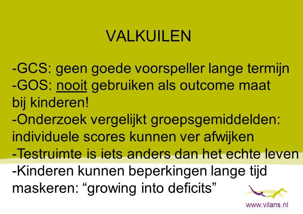 www.vilans.nl VALKUILEN -GCS: geen goede voorspeller lange termijn -GOS: nooit gebruiken als outcome maat bij kinderen! -Onderzoek vergelijkt groepsge