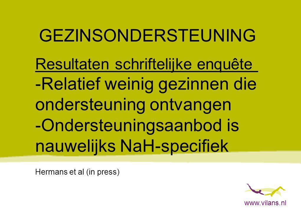 www.vilans.nl GEZINSONDERSTEUNING Resultaten schriftelijke enquête -Relatief weinig gezinnen die ondersteuning ontvangen -Ondersteuningsaanbod is nauw