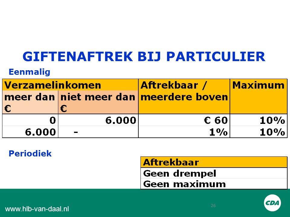 26 www.hlb-van-daal.nl GIFTENAFTREK BIJ PARTICULIER Eenmalig Periodiek