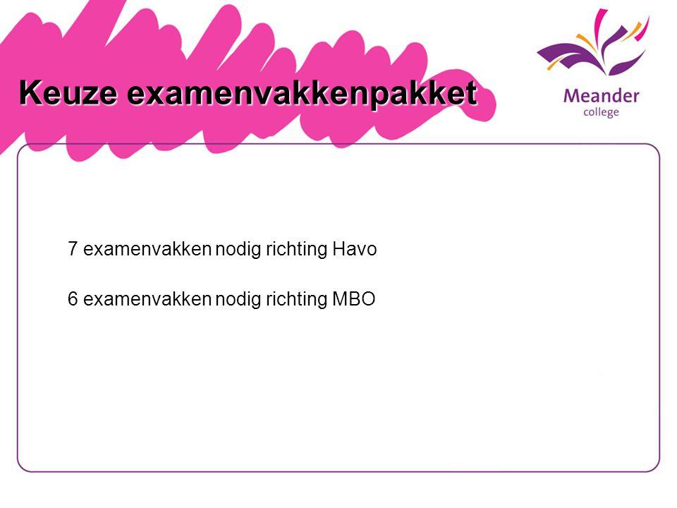 Keuze examenvakkenpakket Keuze examenvakkenpakket 7 examenvakken nodig richting Havo 6 examenvakken nodig richting MBO