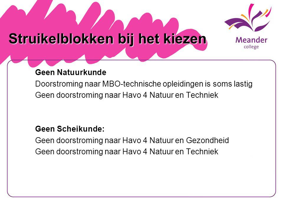 Struikelblokken bij het kiezen Geen Natuurkunde Doorstroming naar MBO-technische opleidingen is soms lastig Geen doorstroming naar Havo 4 Natuur en Te