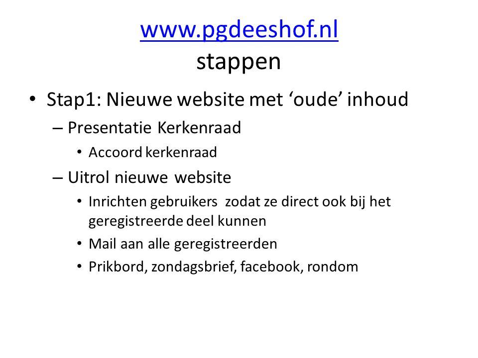 www.pgdeeshof.nl www.pgdeeshof.nl stappen Stap1: Nieuwe website met 'oude' inhoud – Presentatie Kerkenraad Accoord kerkenraad – Uitrol nieuwe website