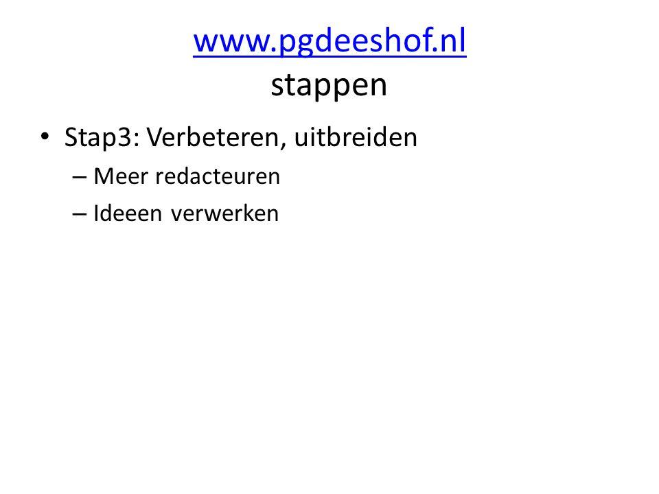 www.pgdeeshof.nl www.pgdeeshof.nl stappen Stap3: Verbeteren, uitbreiden – Meer redacteuren – Ideeen verwerken
