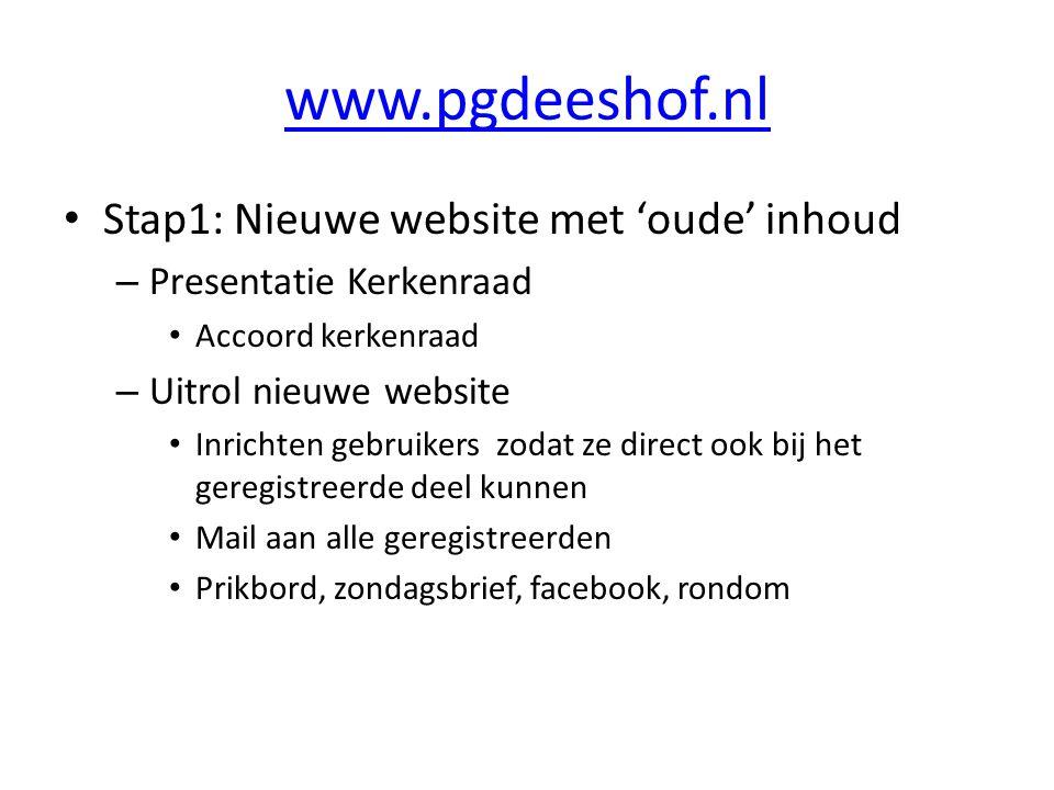 www.pgdeeshof.nl Stap1: Nieuwe website met 'oude' inhoud – Presentatie Kerkenraad Accoord kerkenraad – Uitrol nieuwe website Inrichten gebruikers zodat ze direct ook bij het geregistreerde deel kunnen Mail aan alle geregistreerden Prikbord, zondagsbrief, facebook, rondom