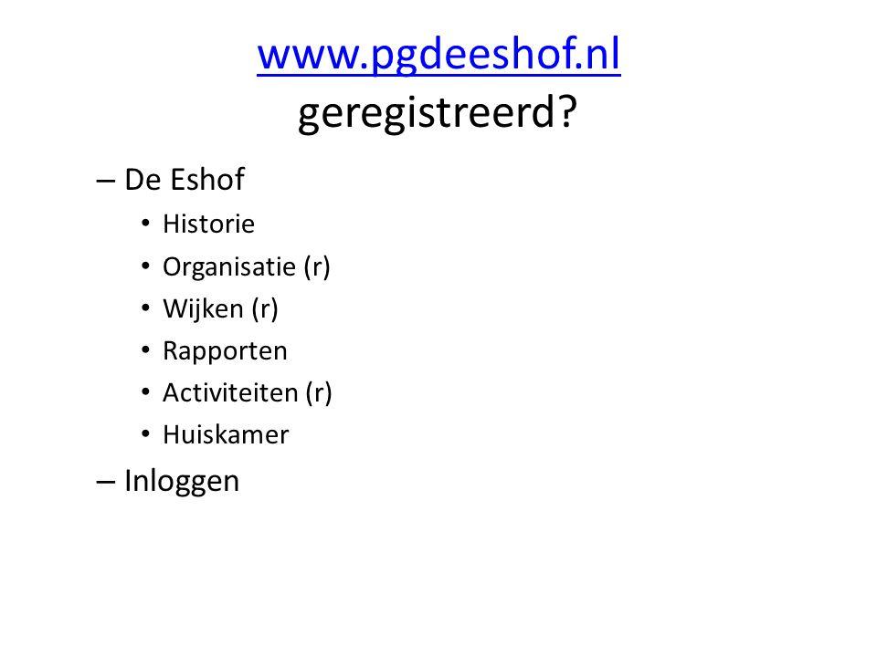 www.pgdeeshof.nl www.pgdeeshof.nl geregistreerd? – De Eshof Historie Organisatie (r) Wijken (r) Rapporten Activiteiten (r) Huiskamer – Inloggen