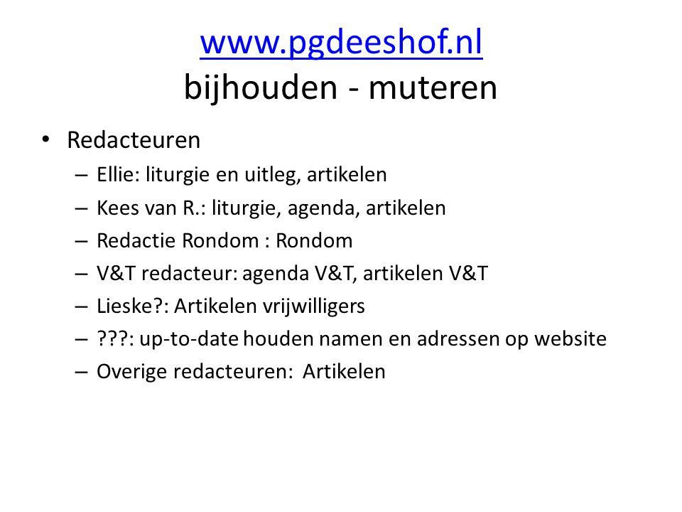 www.pgdeeshof.nl www.pgdeeshof.nl bijhouden - muteren Redacteuren – Ellie: liturgie en uitleg, artikelen – Kees van R.: liturgie, agenda, artikelen –