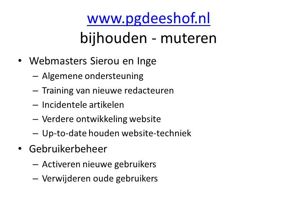 www.pgdeeshof.nl www.pgdeeshof.nl bijhouden - muteren Webmasters Sierou en Inge – Algemene ondersteuning – Training van nieuwe redacteuren – Incidente