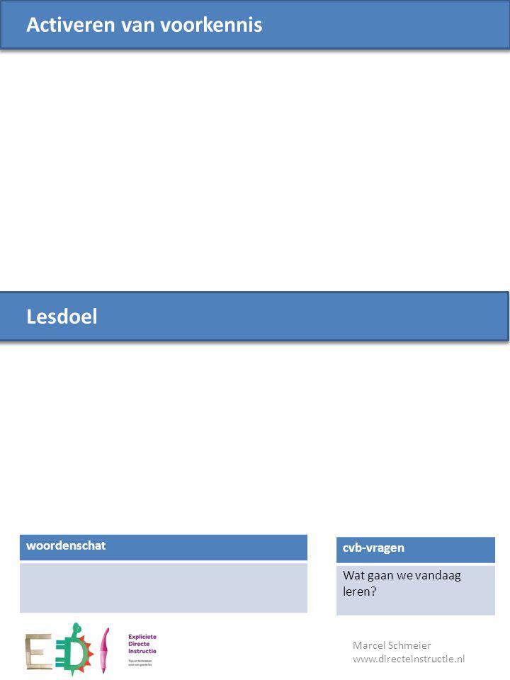 Lesdoel cvb-vragen Wat gaan we vandaag leren? Activeren van voorkennis woordenschat Marcel Schmeier www.directeinstructie.nl