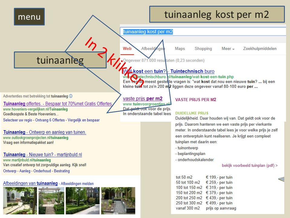 tuinaanleg tuinaanleg kost per m2 In 2 klikken menu