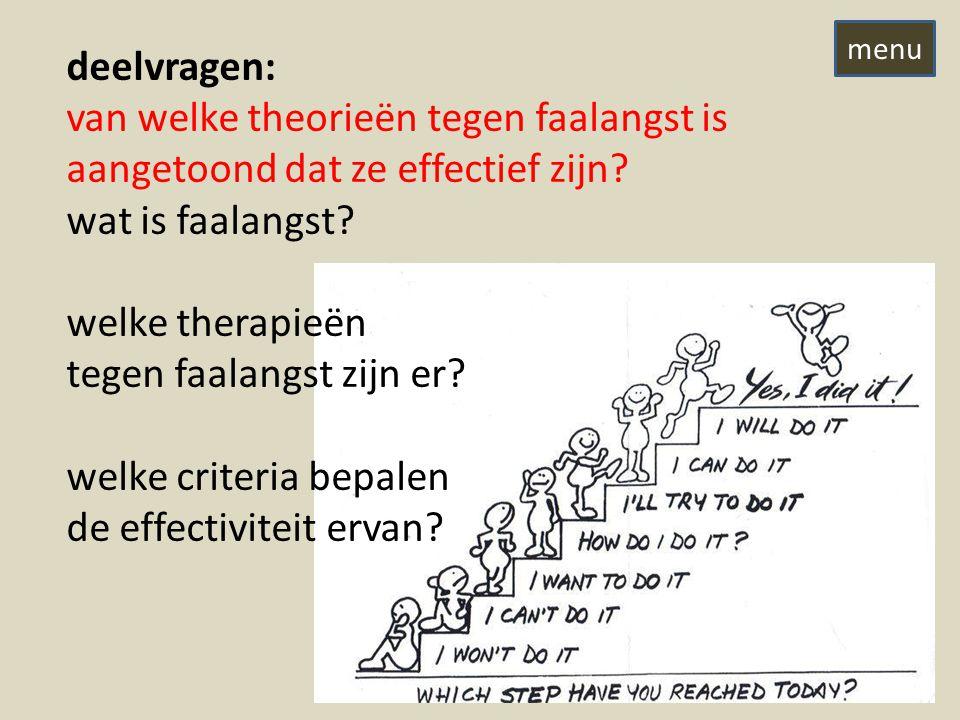 deelvragen: van welke theorieën tegen faalangst is aangetoond dat ze effectief zijn.