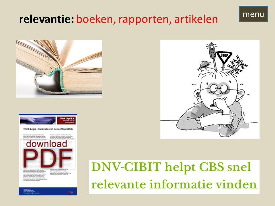 relevantie: boeken, rapporten, artikelen menu