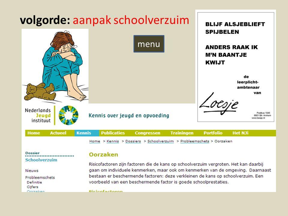 volgorde: aanpak schoolverzuim menu