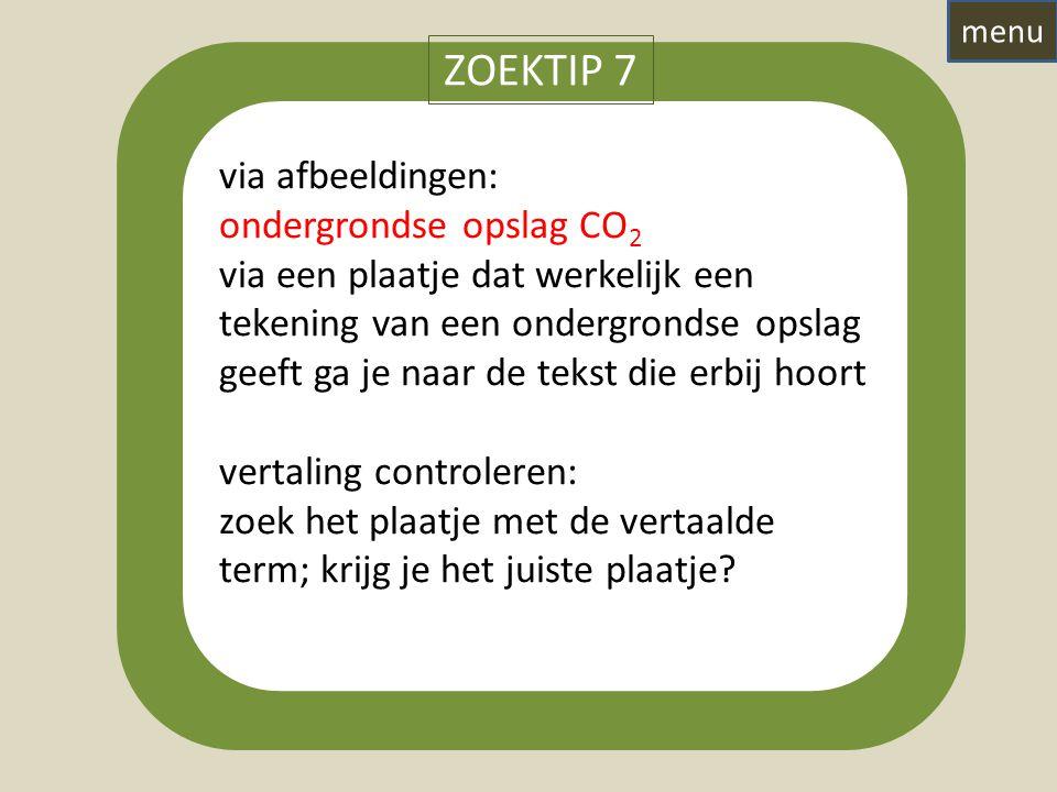 via afbeeldingen: ondergrondse opslag CO 2 via een plaatje dat werkelijk een tekening van een ondergrondse opslag geeft ga je naar de tekst die erbij hoort vertaling controleren: zoek het plaatje met de vertaalde term; krijg je het juiste plaatje.