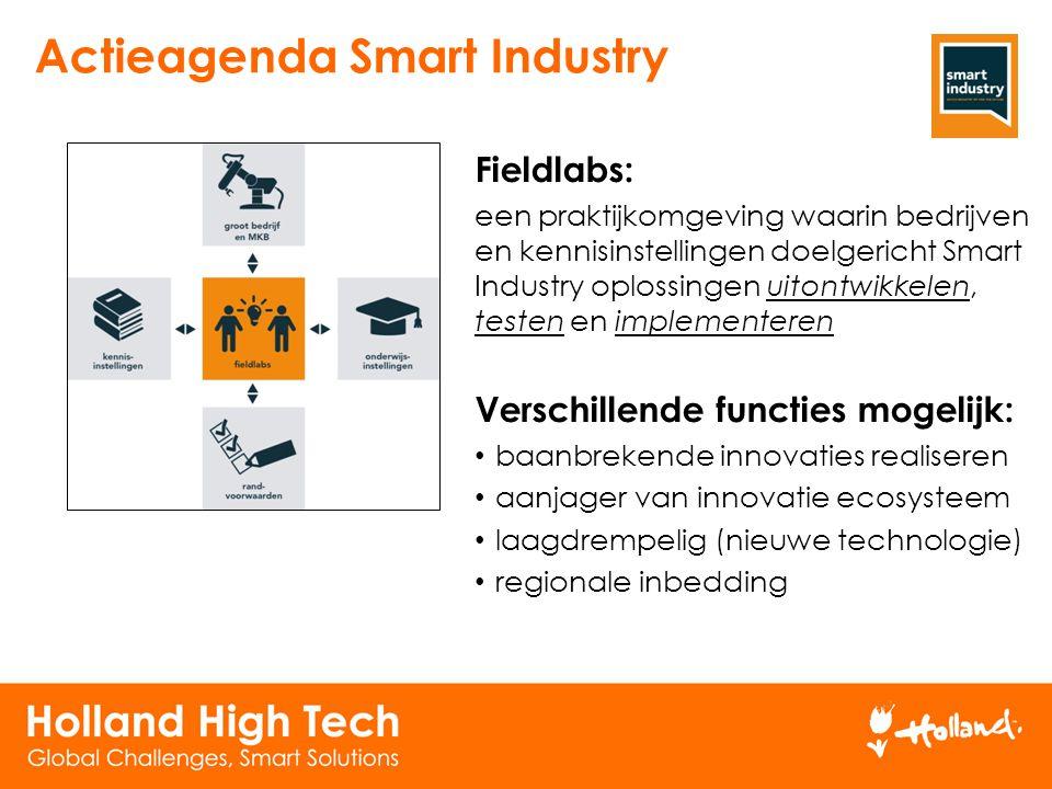 Fieldlabs: een praktijkomgeving waarin bedrijven en kennisinstellingen doelgericht Smart Industry oplossingen uitontwikkelen, testen en implementeren