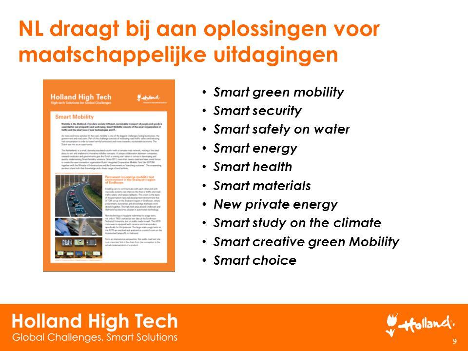 NL draagt bij aan oplossingen voor maatschappelijke uitdagingen 9 Smart green mobility Smart security Smart safety on water Smart energy Smart health