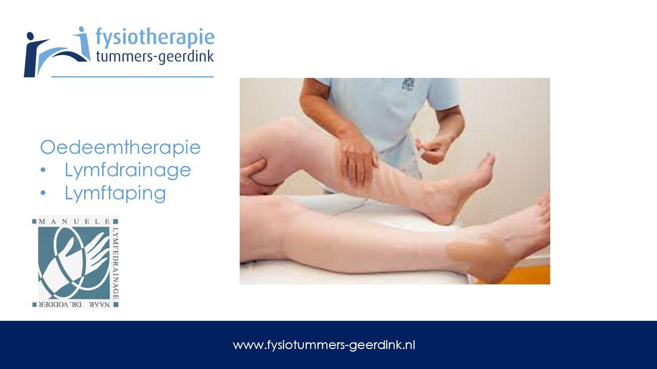 Oedeemtherapie Lymfdrainage Lymftaping www.fysiotummers-geerdink.nl