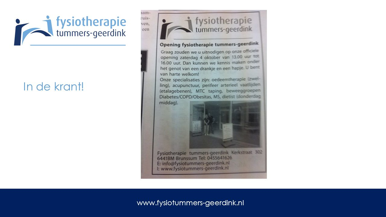 In de krant! www.fysiotummers-geerdink.nl
