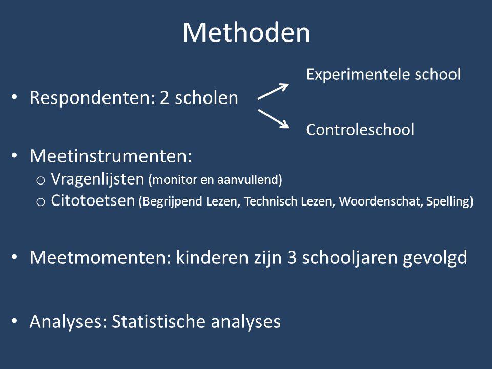 Methoden Experimentele school Respondenten: 2 scholen Controleschool Meetinstrumenten: o Vragenlijsten (monitor en aanvullend) o Citotoetsen (Begrijpe