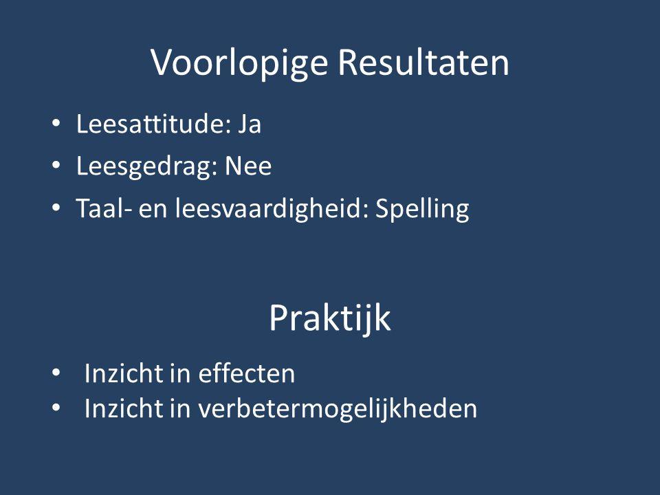 Voorlopige Resultaten Leesattitude: Ja Leesgedrag: Nee Taal- en leesvaardigheid: Spelling Praktijk Inzicht in effecten Inzicht in verbetermogelijkhede