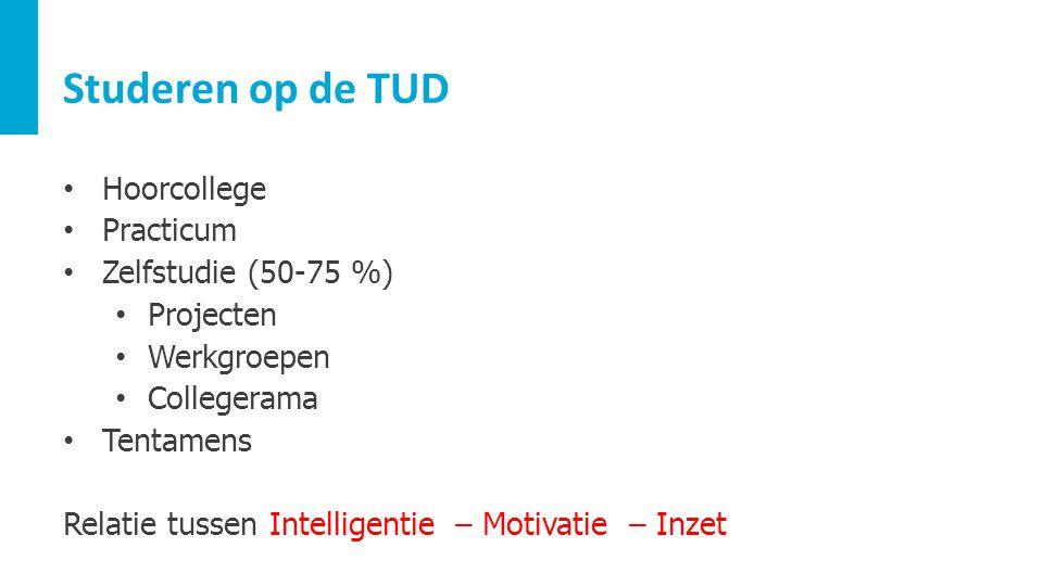Studeren op de TUD Hoorcollege Practicum Zelfstudie (50-75 %) Projecten Werkgroepen Collegerama Tentamens Relatie tussen Intelligentie – Motivatie – I